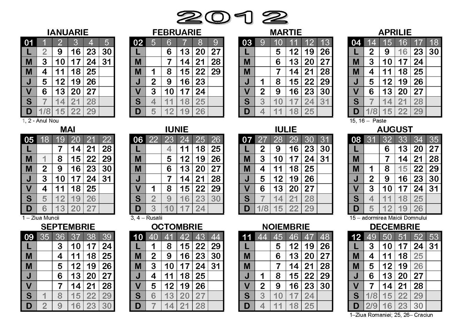 Calendar Saptamani | Calendar Template 2016