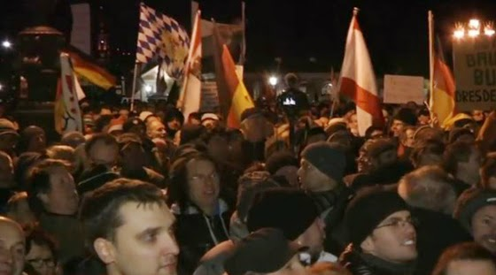 A recent PEGIDA rally in Dresden, Germany drew 18,000. (Screen capture from YouTube video)