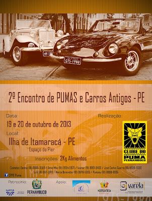 O belo cartaz promocional do 2º Encontro do Clube do Puma de Pernambuco traz também o MP Lafer do José Carlos Guerra