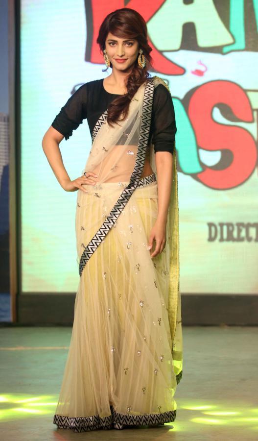 Majestic elegant Shruti haasan light transparent saree stills
