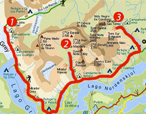 Circuito W Torres Del Paine Mapa : Viajes nÓmadas belleza chilena antes de las llamas
