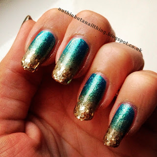 green gold glitter gradient nails
