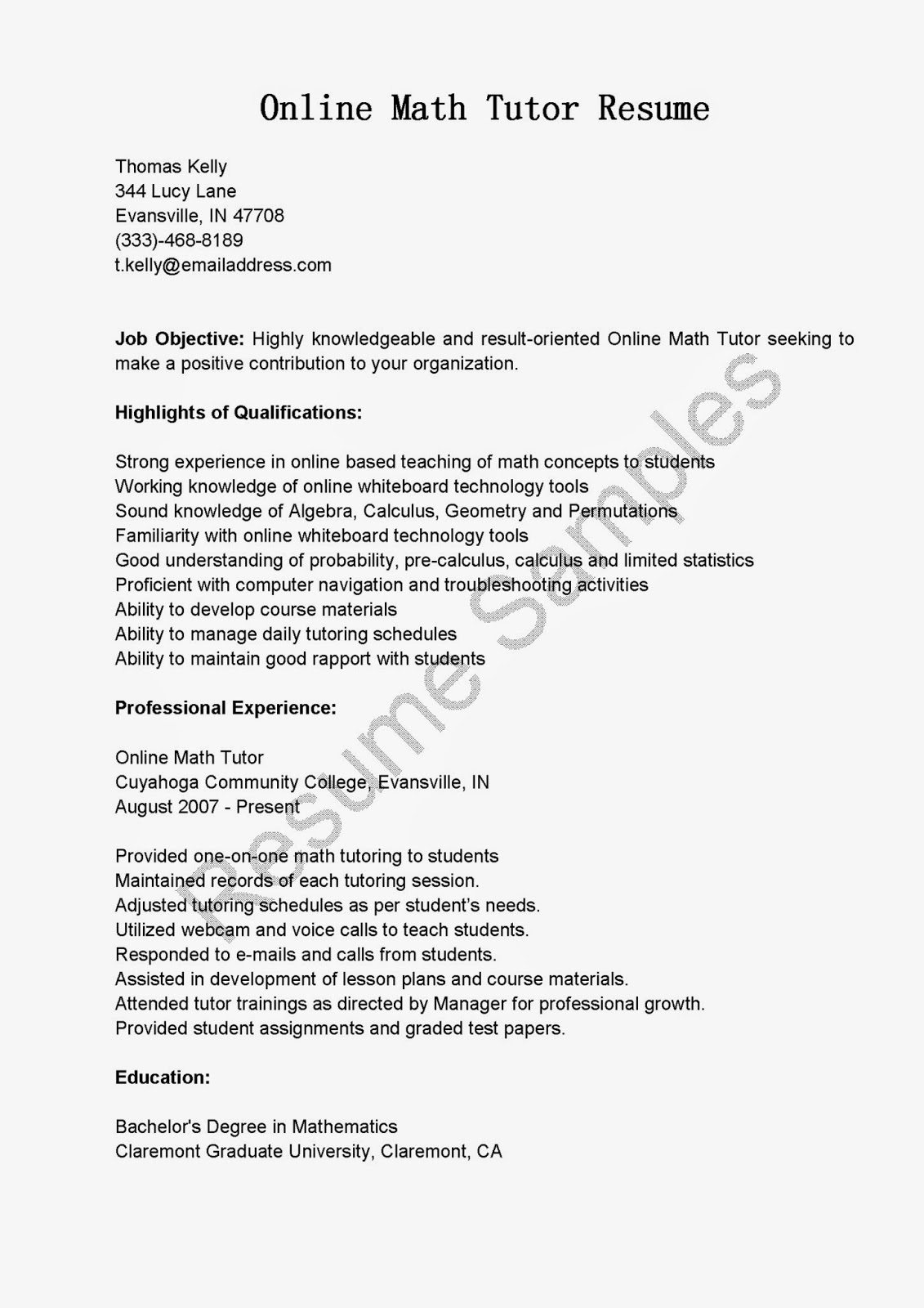 resume sles math tutor resume sle