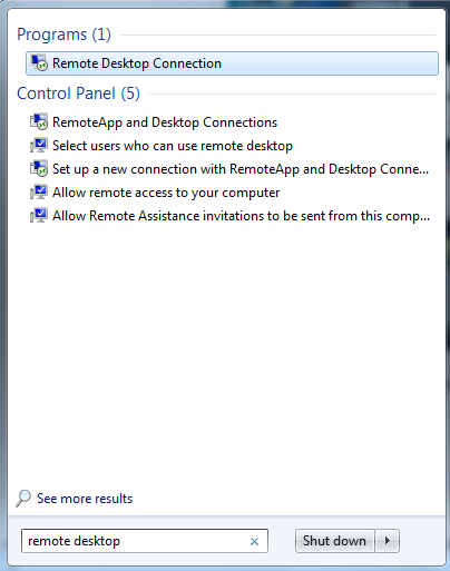 how to open remote desktop connection through run