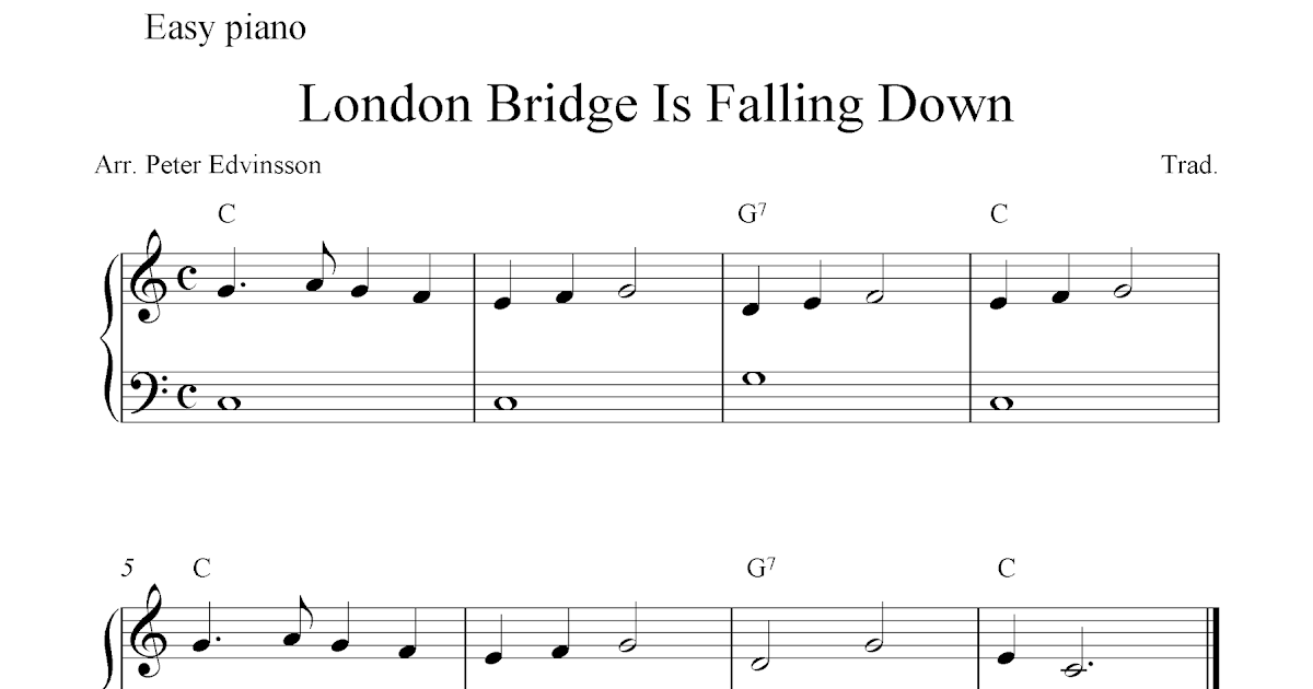 free piano sheet music score london bridge is falling down