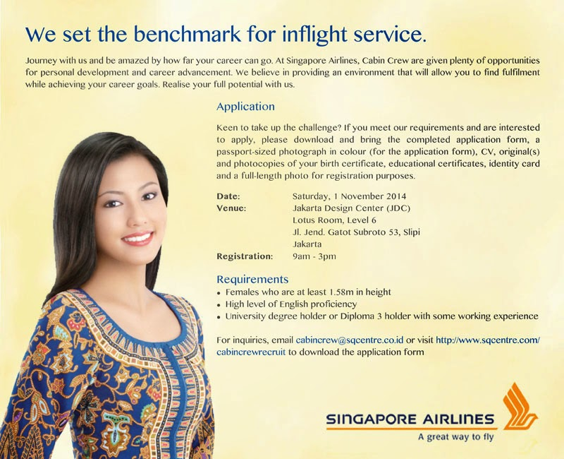 fly gosh singapore airlines cabin crew recruitment jakarta indonesia - Cabin Crew Interview Questions Cabin Crew Interview Tips