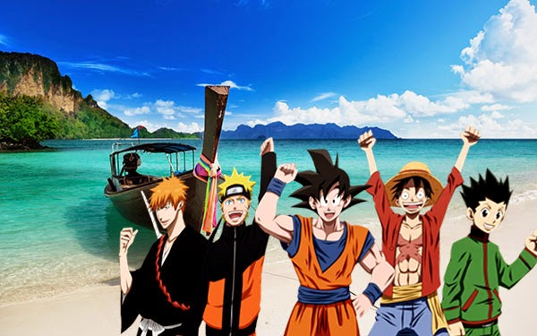 Ichigo, Naruto, Goku, Luffy, Gon (Bleach, Naruto, Dragon ball, One piece, Hunter X Hunter)
