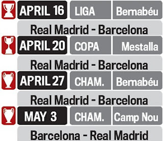 Possible schedule with four Real Madrid vs Barcelona in 18 days