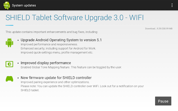 NVIDIA Shield Tablet WiFi - Update 3.0 with Android 5.1 Lollipop