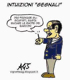 barconi, Berlusconi, scafisti, satira, vignetta