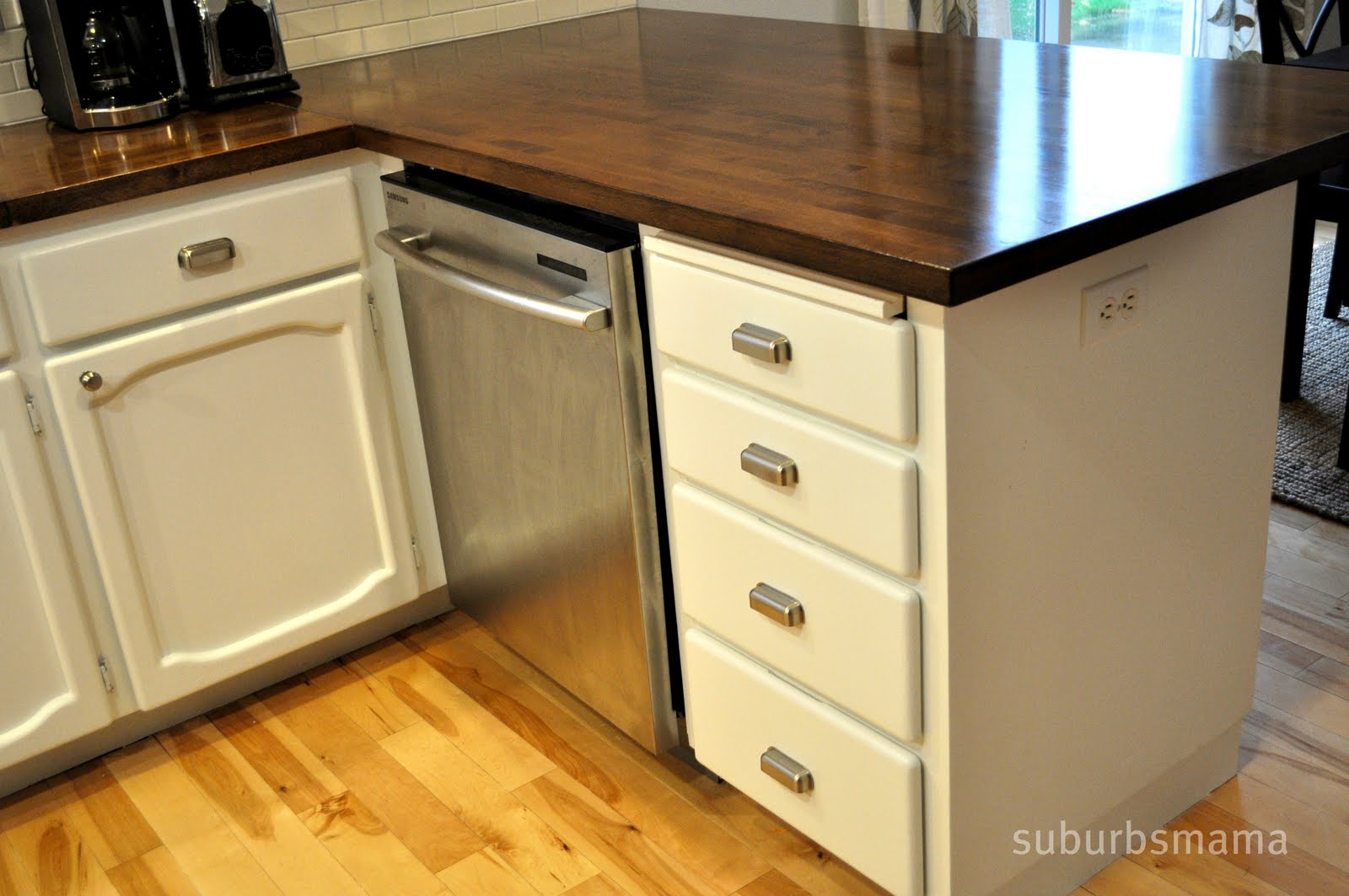 Suburbs mama kitchen tour for Are ikea kitchen cabinets made of solid wood