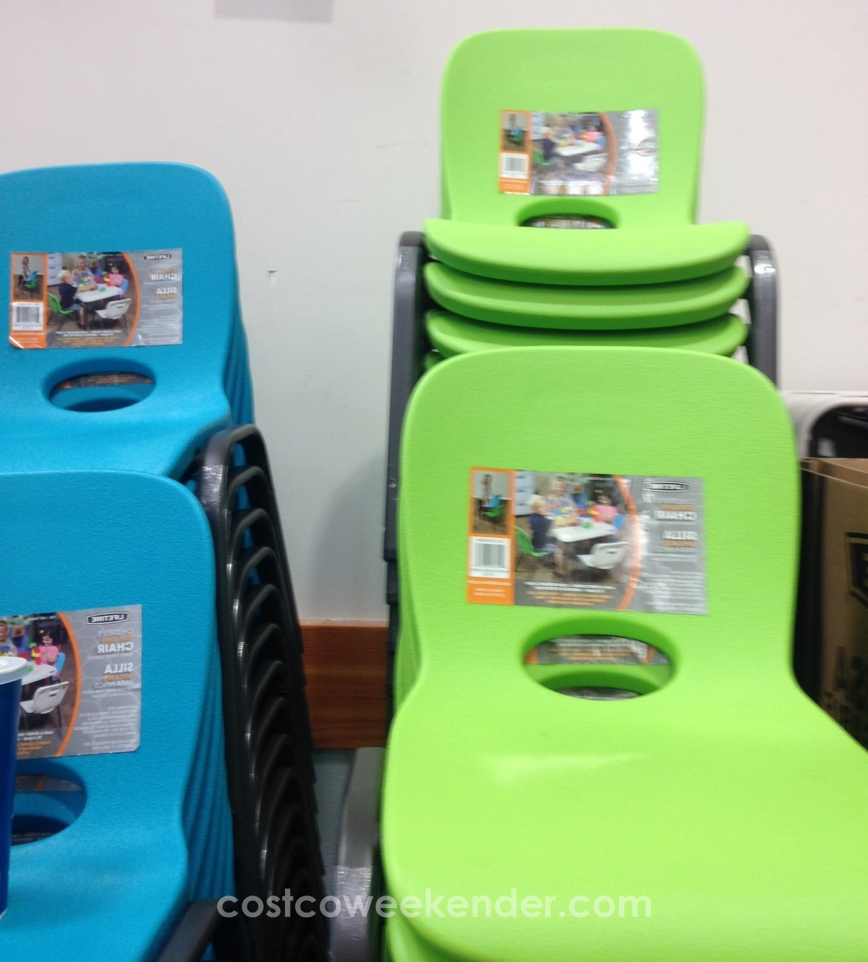 Lifetime Children's Stacking Chair in blue and green colors