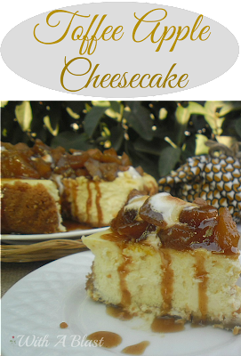 Toffee Apple Cheesecake ~ Old-fashioned Cheesecake topped with gooey, sticky Toffee Apple, S'Mores and drizzled with Brown Sugar/Cinnamon syrup ~ to die for delicious! #Cheesecake #AppleCheesecake #ToffeeApple #FallDessert