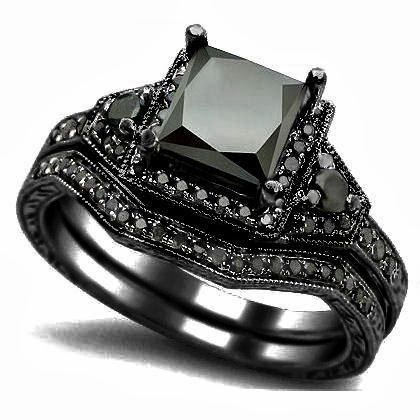 Beautiful Black Gold Engagement Ring