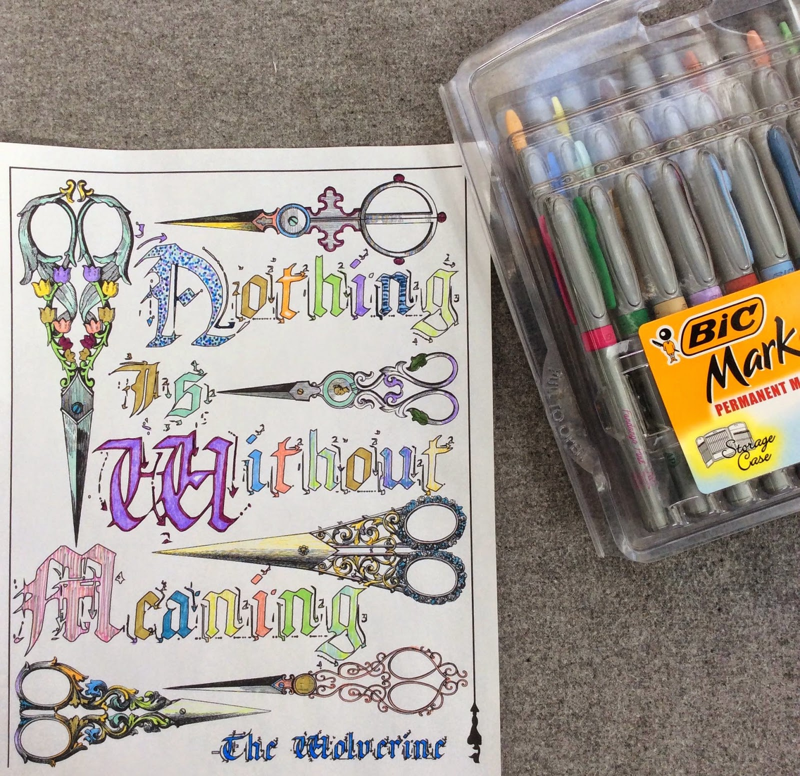 adult coloring page free download quote, stefanie girard, bic markers