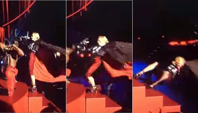 Madonna falls off the stage