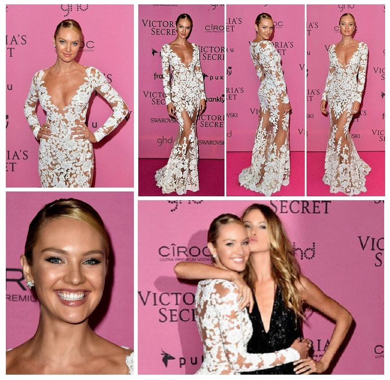 As we know, Candice Swanepoel quite dominant in her career, so what really works for us when she come excellent into the feminine side on Victoria's Secret party.  The 26-year-old stole the show as she walked to the pink carpet in the attention grabbing with her while lace dress at Earl's Court in London, England on Monday, December 1, 2014.