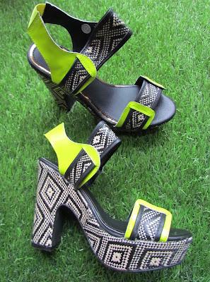 Tribal design neon heels