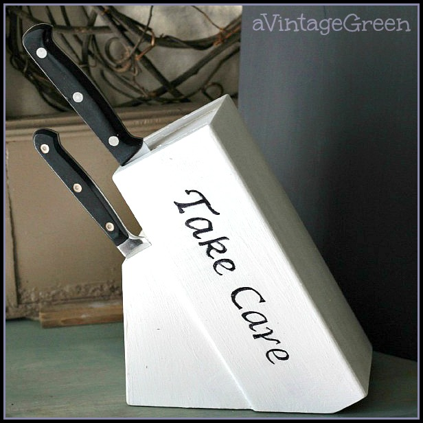 Painted Knife Block: A Vintage Green: Knife Holder Updated