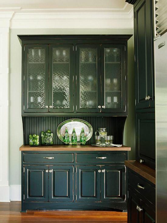 New home interior design kitchen cabinets stylish ideas - Dark green kitchen cabinets ...