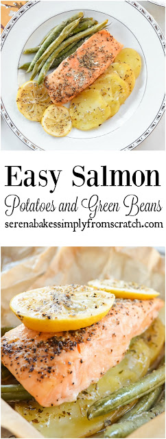 Easy Salmon Potatoes and Green Beans In Parchment is an easy dinner done in under 30 minutes and cleanups a breeze! serenabakessimplyfromscratch.com