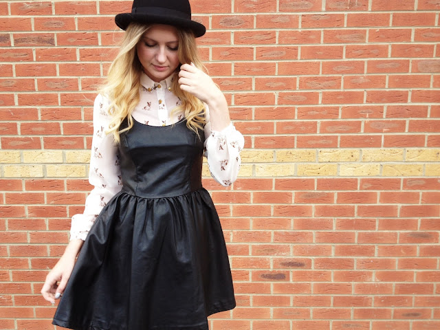 FashionFake, leather dress, leather trend, Topshop bowler hat, dog print shirt, fashion blog UK, street style, ombre hair