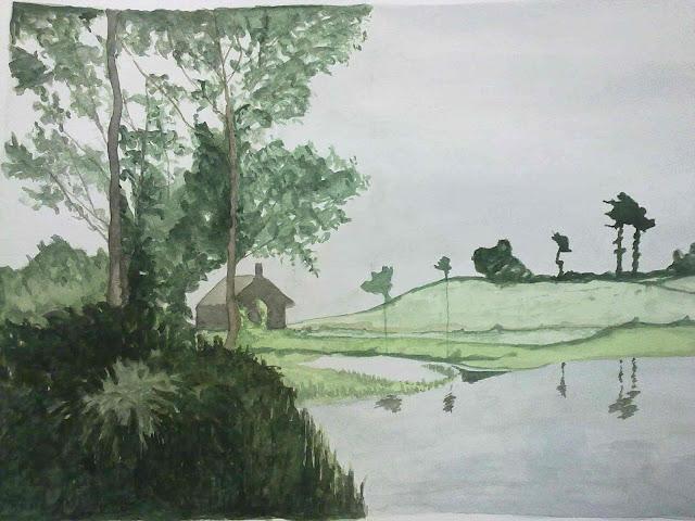acuarela paisaje en tonos verdes