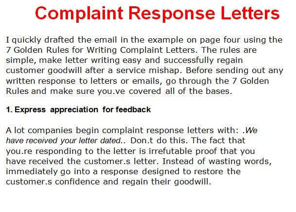 Complain Response Letters Pictures And Images
