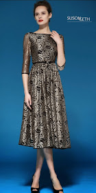 Duchess Fashion Malaysia Online Clothes Shopping Original Susongeth Rose Embroidered Gold Lace Dress