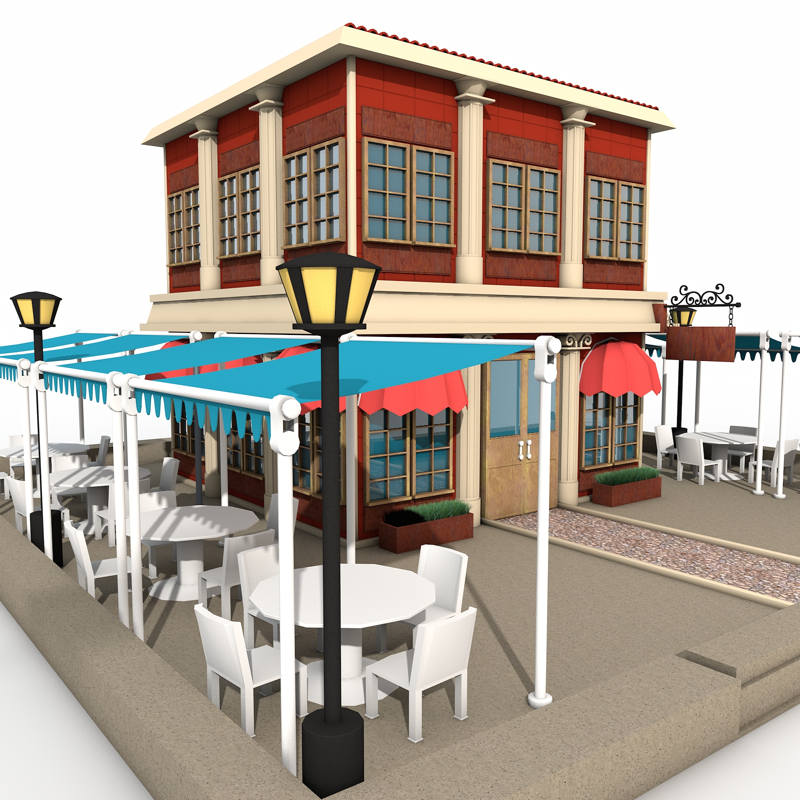 3d environment models for Restaurant exterior design pictures