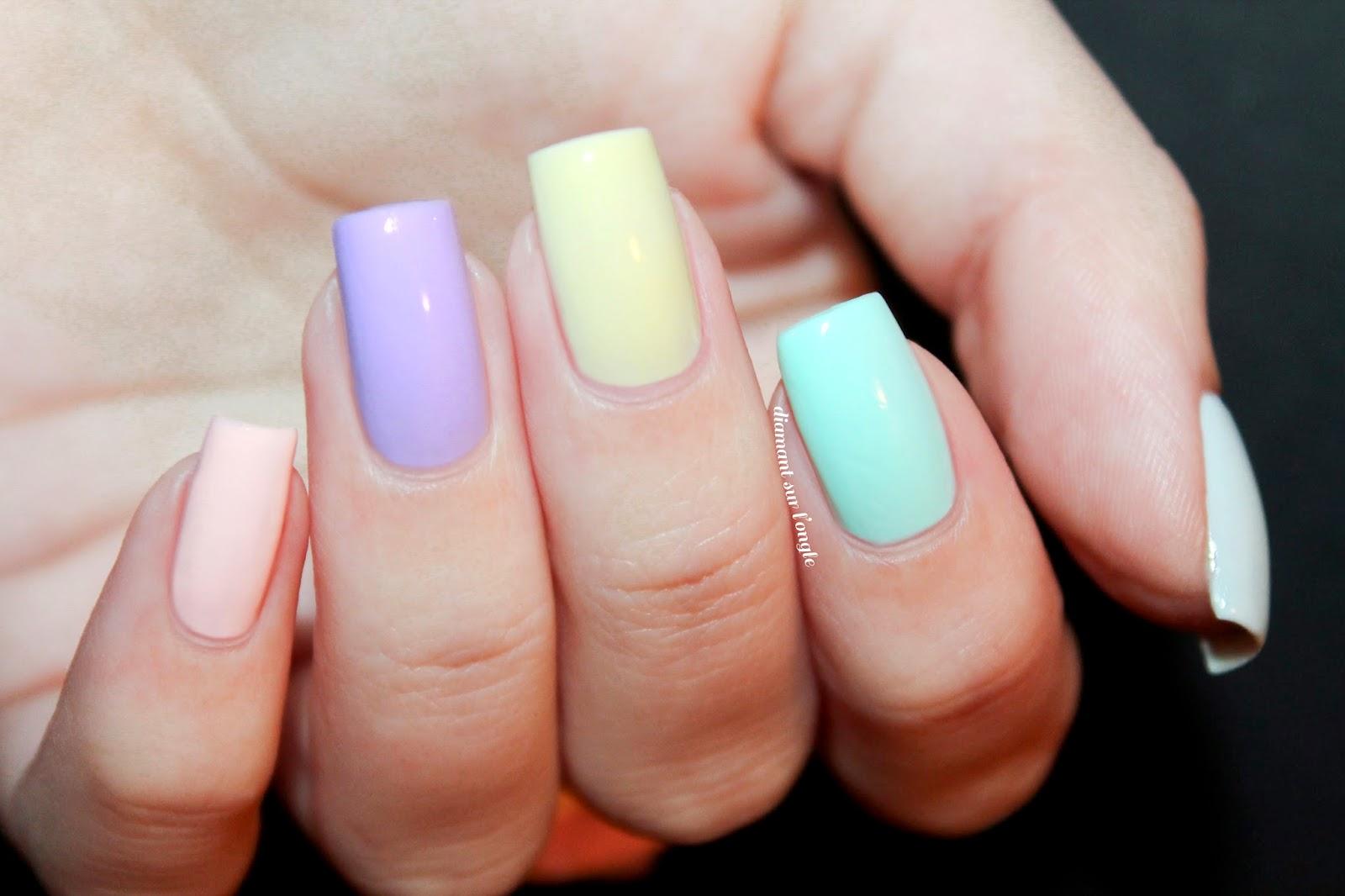 Skittle Rainbow Pastel Nail Art