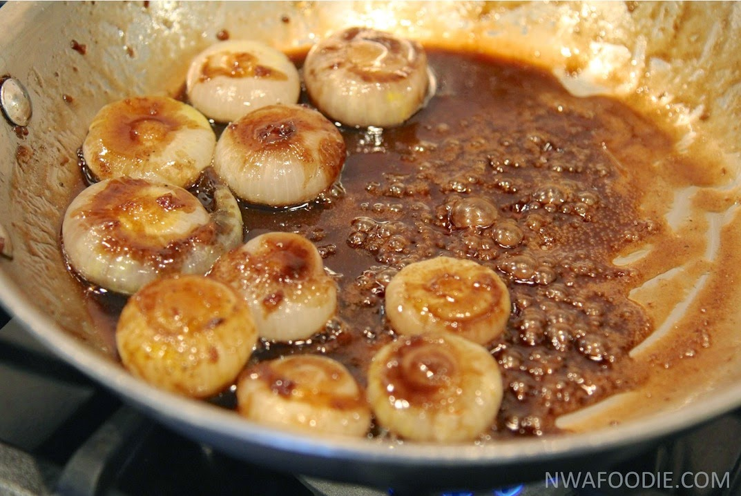#denigris1889 Pan roasted sweet onions with balsamic - in pan (c)nwafoodie