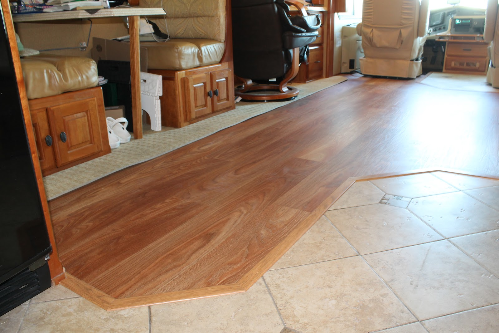 ... the 80's: 2005 Monaco Dynasty RV Remodel - Oak Laminate Wood Flooring