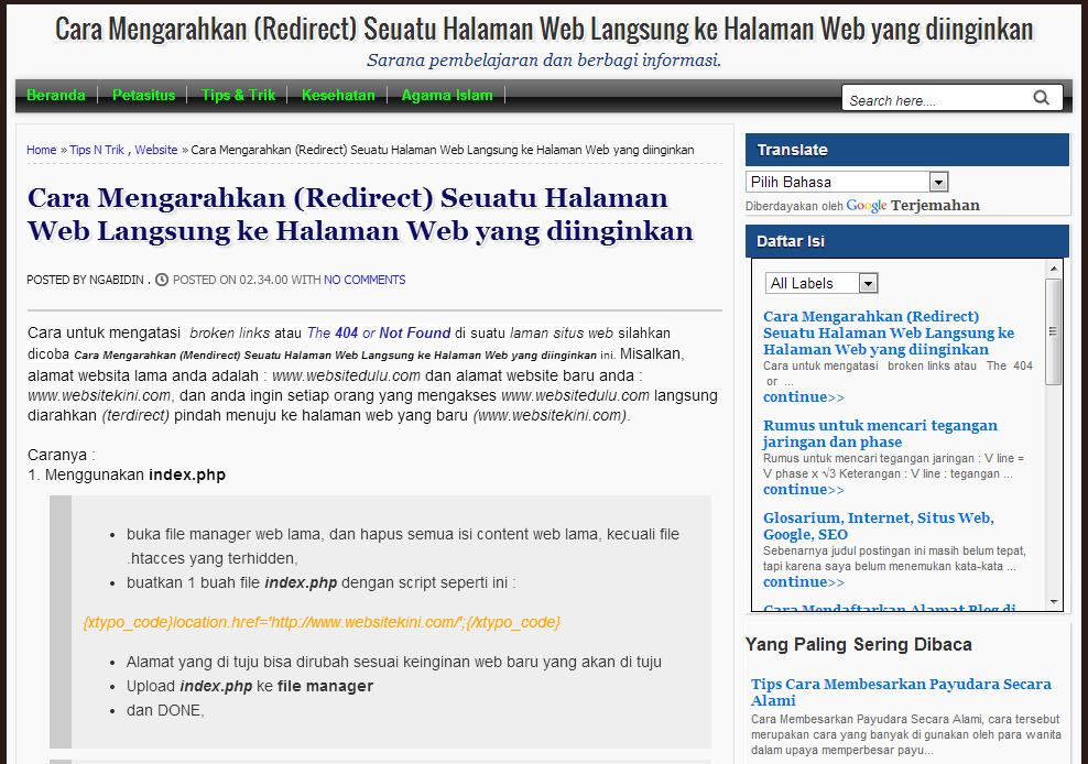 Cara Mengarahkan (Redirect) Seuatu Halaman Web Langsung ke Halaman Web yang diinginkan