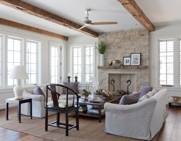 Beach Cottage Living Room with Fireplace