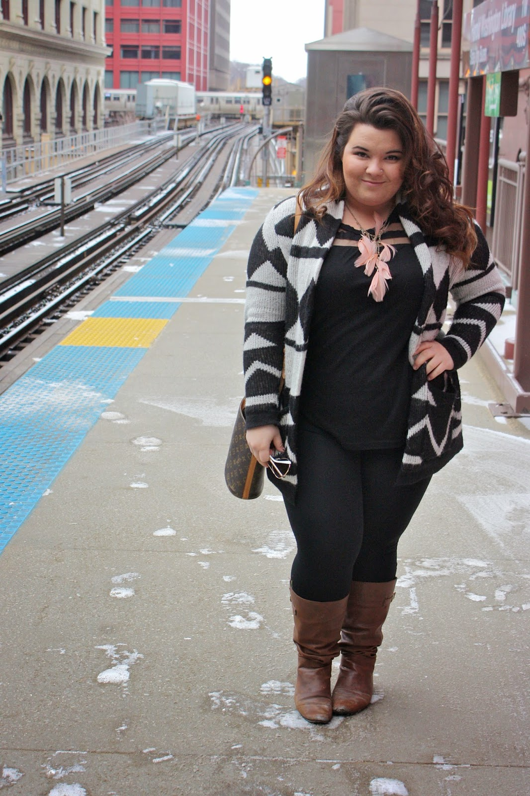 chicago, style, fashion, natalie craig, natalie in the city, oversized cardigan, feather necklace, stripes, tribal print, louis vuitton, forever 21, plus size fashion blogger,