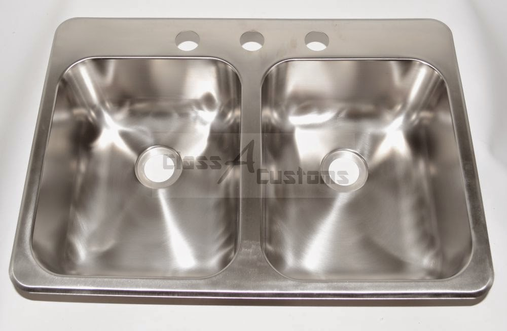 Beau 25 X 17 X 5 Stainless Steel Sink Double Bowl 3 Holes By Hengu0027s