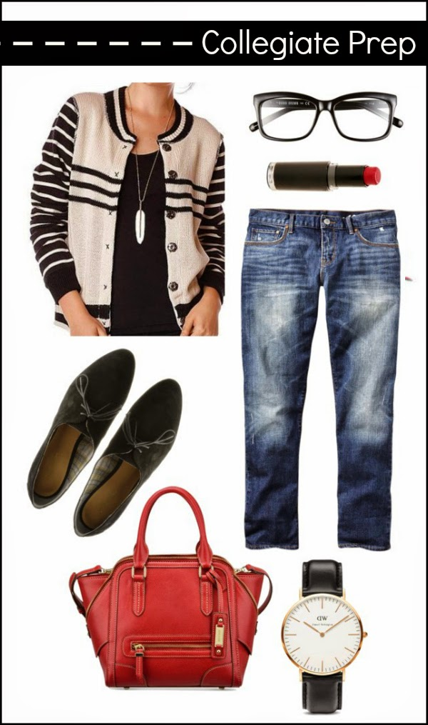 Collegiate Prep Style Outfit Idea with Golden Tote