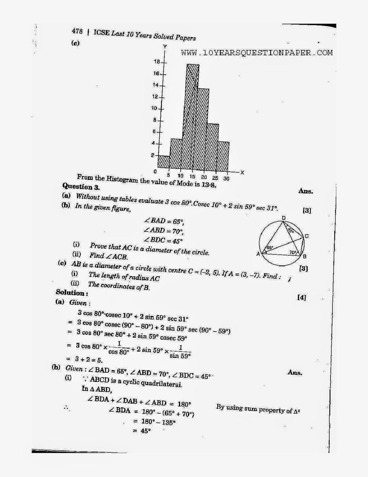 2014 ICSE (Class 10) Board Paper Solution: Mathematics
