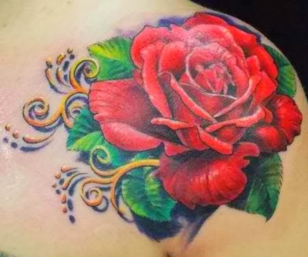 Pretty rose shoulder tattoo.
