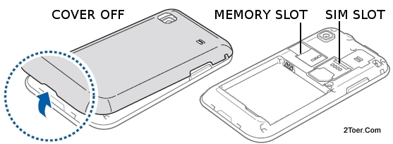 cover case location of sim memory slot samsung galaxy s plus gt i9001