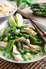 Thai Fish Green Curry with Asparagus and Peas