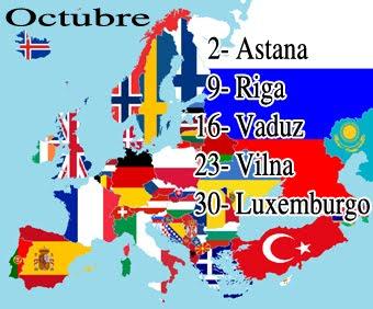 Capitales de Europa, octubre.