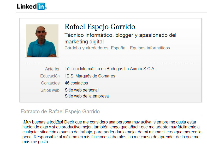 mi cuenta en Linkedin