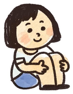 体育座りのイラスト「女の子」