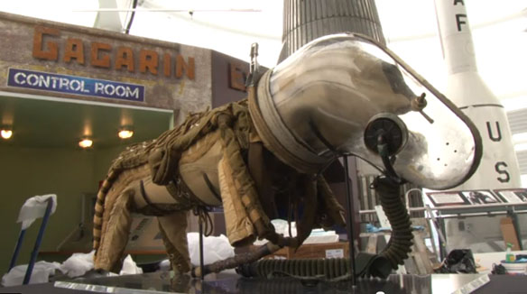 Early russian space suit for dogs first used in the 1950's now