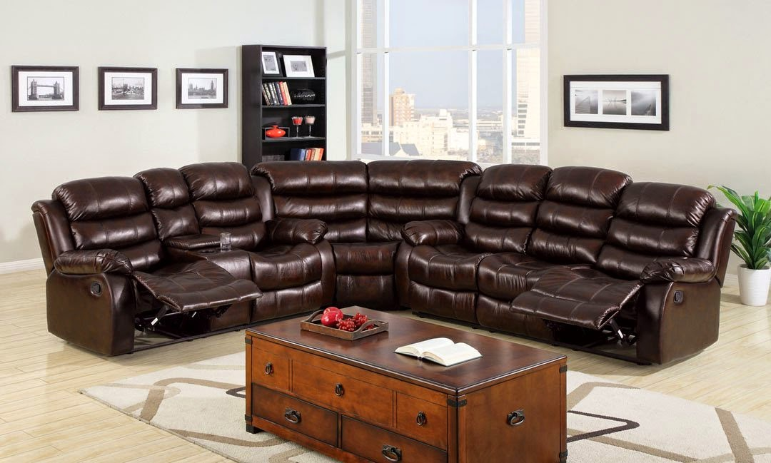 3 Pc. Classic Berkshire Dark Brown Reclining Sofa Sectionals For Small  Spaces
