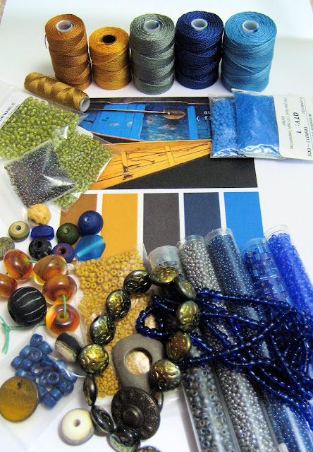 autumn floats color palette blue gray grey mustard yellow beads and cord