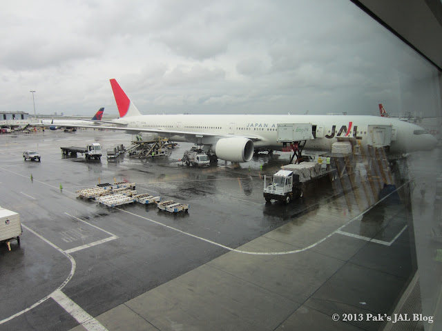 A JAL Boeing 777-300ER (regiration: JA742J) parked at Terminal 1 Gate 6 on June 4 2012