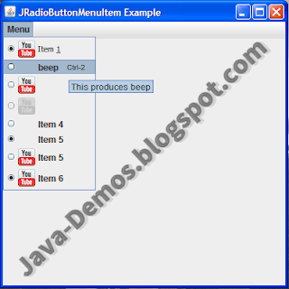 Screenshot of JRadioButtonMenuItem Example